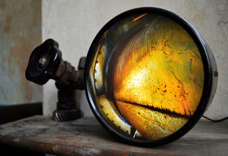 compteur / pièces de métal recyclées / ampoules LED / impression photo TEXTURES (n´est plus disponible)